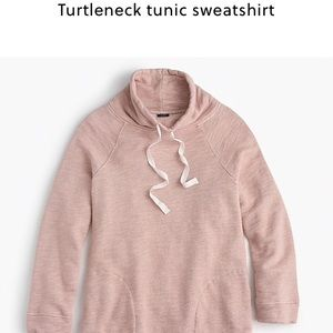 J. Crew pink turtleneck tunic sweatshirt
